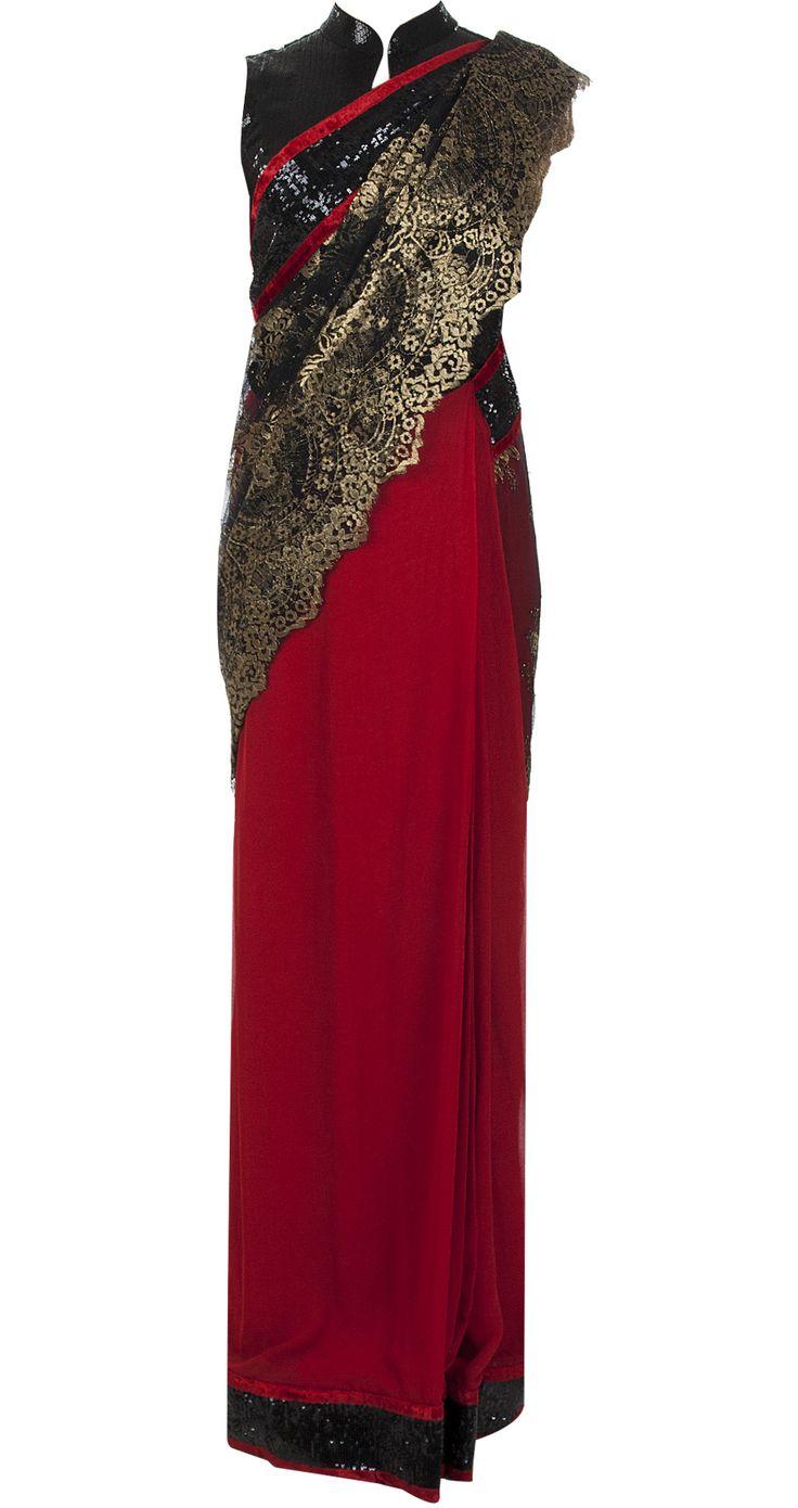 Red sari with chantilly palu by VARUN BAHL.
