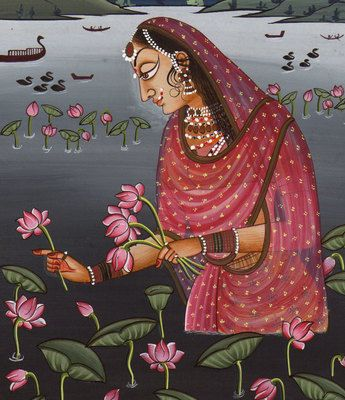 Rajasthani Painting. Ragini Ragmala. The Ragini paintings are named for an ancient tradition of Indian miniature paintings which reflect the mood of a young maiden who seeks solace and joy in a imagined world of dematerialized landscape and rhythmic ragas.