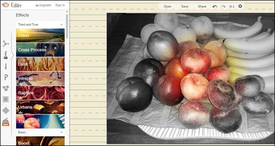 RIBBET Ribbet es un editor de fotos completo e intuitivo que incluye filtros. Dispone de botones para deshacer y rehacer cambios, y al guardar la imagen respeta el tamaño original y la calidad (puedes elegir tamaño de compresión). Algunos elementos son de pago y está conectado con Pixlr, que veremos más adelante.   …