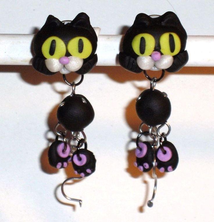 Ohrstecker Katze Tiere Damen Ohrringe Ohrschmuck Modeschmuck Edelstahl Fimo