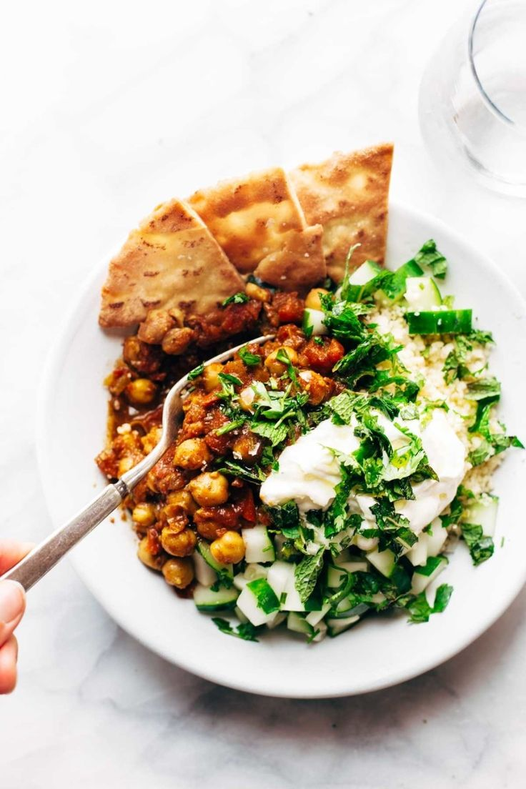 These spiced chickpeas are sauted with onion, chili powder, cumin, cinnamon, cayenne, and fire roasted tomatoes. They might just be your new favorite salad topper. Get the recipe.