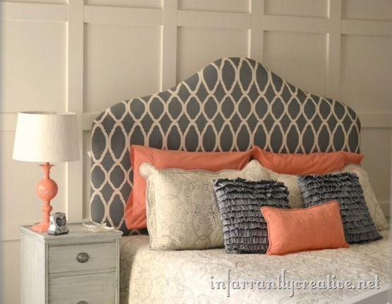 Fabric Upholstered Headboard\u2013Painted \u0026 Stenciled & 98 best DIY Headboards images on Pinterest | Bedroom College life ... pillowsntoast.com
