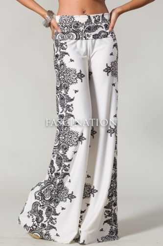 Sexy Fold Over Waist Wide Leg Paisley White Black Tall Yoga Palazzo Pants s M L | eBay                                                                                                                                                                                 Más