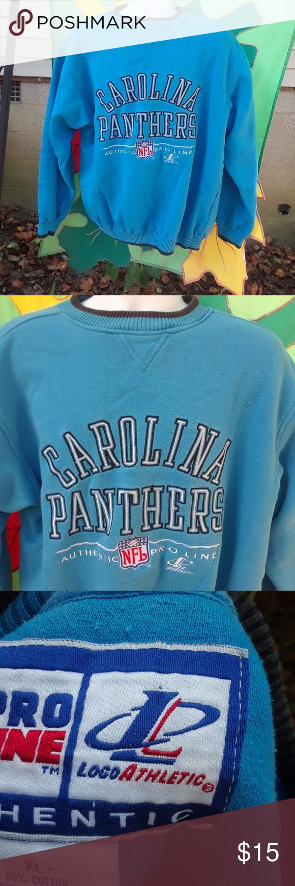 Caroline Panthers men's Sweat Shirt size X-large This is a used NFL Pro Line Authentic Caroline Panthers men's Sweat Shirt size X-large,it is blue and black,there are no holes or tears or stains,Please view the pictures and if you have any questions please ask. Pro Line Authentic Shirts Sweatshirts & Hoodies