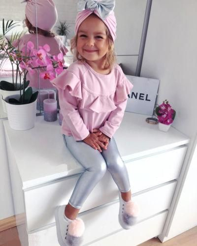 Baby and Girls Ruffled Pink Top, Silver Leggings, and Matching Beanie