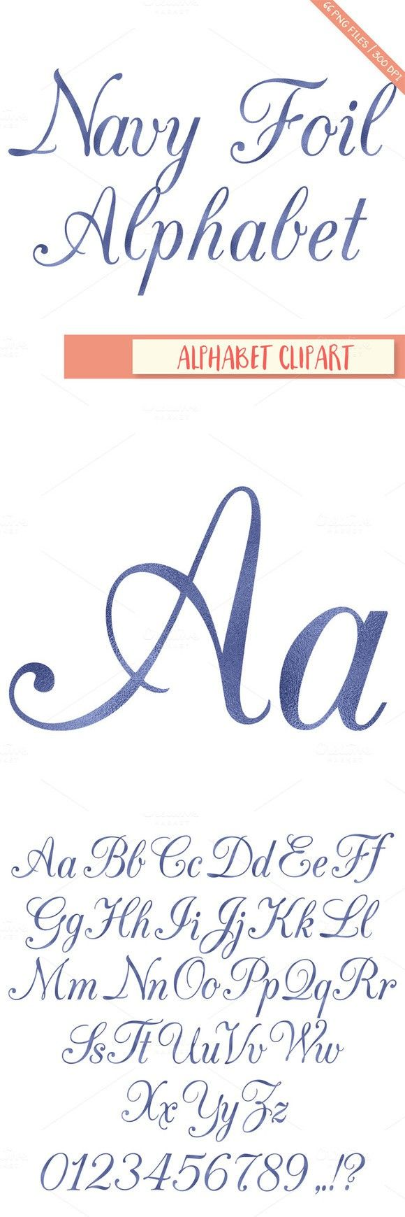 Navy foil alphabet clipart. Wedding Fonts. $4.00