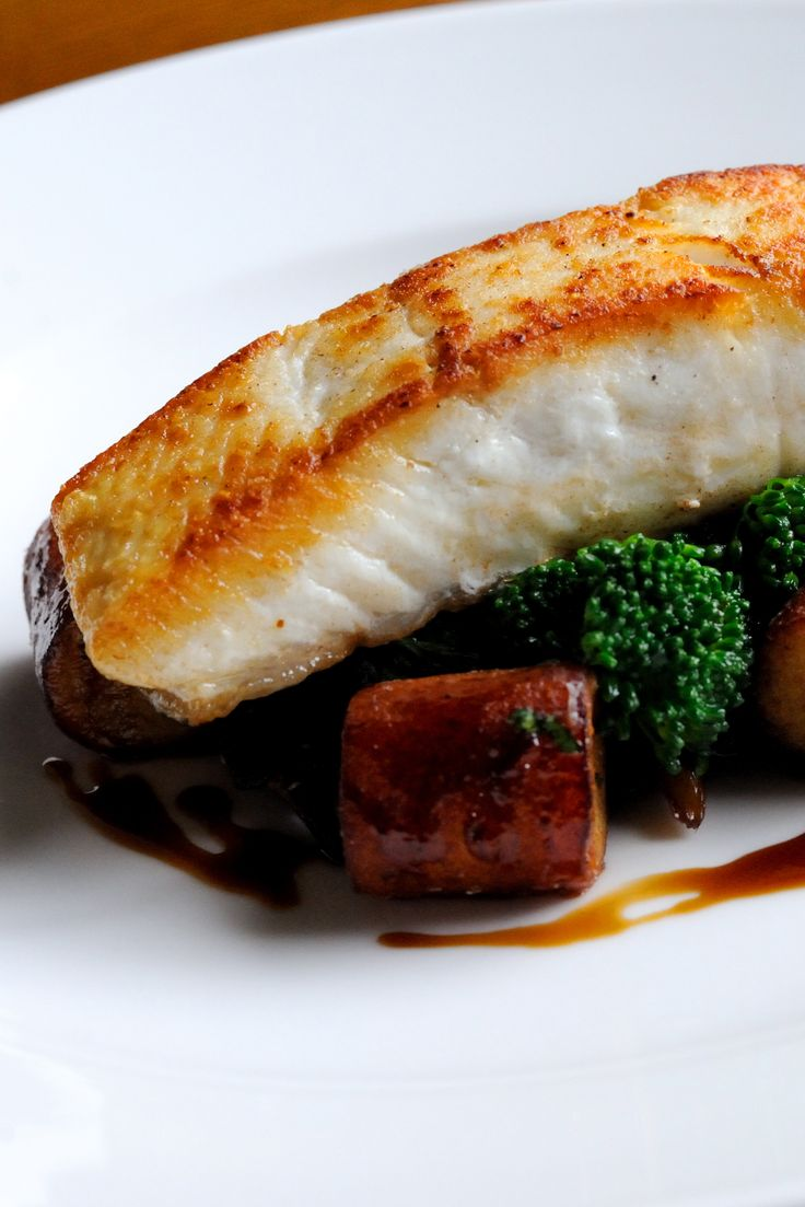 Dominic Chapman's pan-fried halibut recipe represents the classic way to serve white fish: complete with a lemon butter sauce, earthy wild mushrooms and crunchy purple sprouting broccoli. The potato gnocchi is a wonderful addition to this seafood meal, bringing in a wonderfully buttery flavour to the rest of the dish.