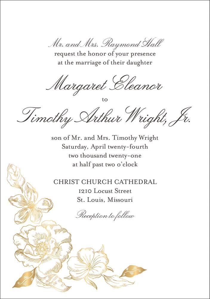 Etched Floral Wedding Invitation Paper Source Wedding Invitations Examples Wedding Invitation Wording Examples Wedding Invitation Wording Formal