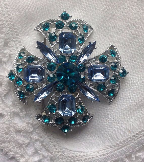 Large Vintage Maltese Cross Brooch Blue by WishAnWearJewelry