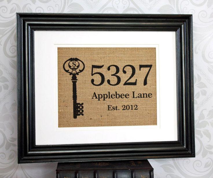 Personalized Housewarming Gift on Burlap - Home Address Sign with Monogram Key. $20.00, via Etsy.