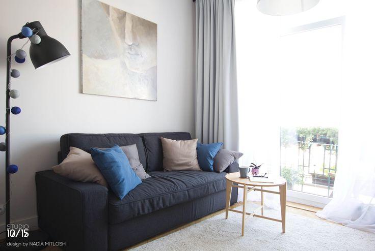 Scandinavian living room. Warm and cosy little studio 32 m2 in Warsaw. Design by Nadia Mitłosz https://www.facebook.com/Studio-1015-Nadia-Mit%C5%82osz-352930628189169/timeline/