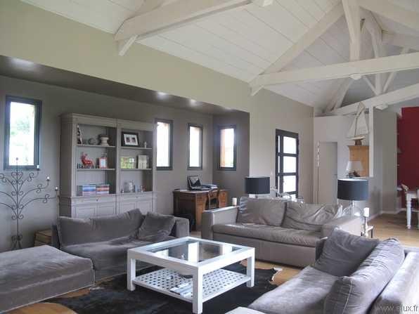 Maison Plain Pied Avec Mezzanine Plan Maison Avec Mezzanine. Charpente  Apparente Salon Salon With Charpente Apparente Salon