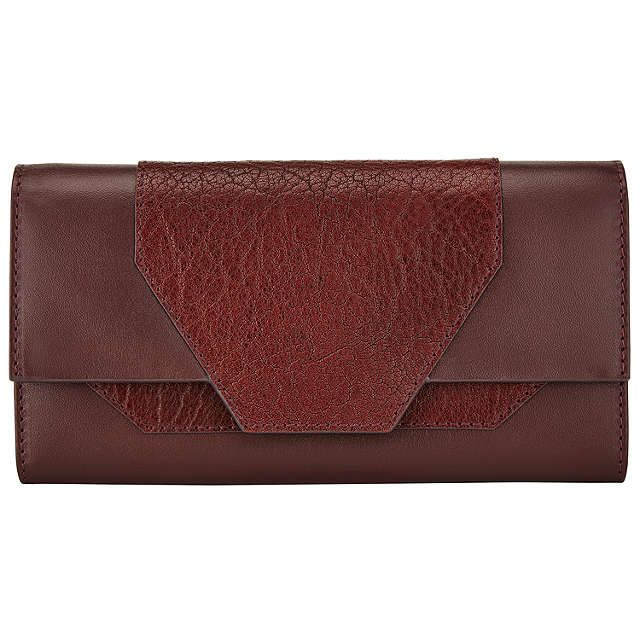 BuyKin by John Lewis Dillon Leather Fold Over Purse, Burgundy Online at johnlewis.com