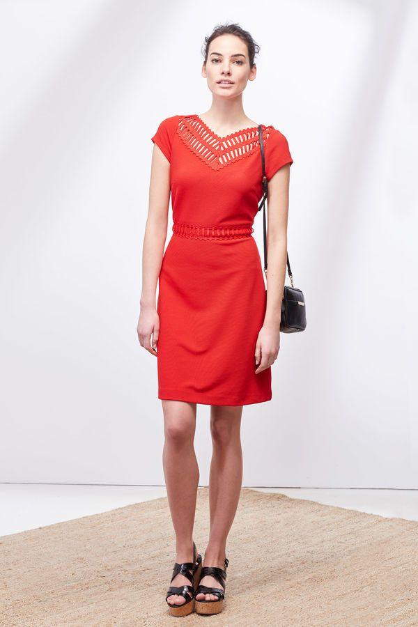 Cortefiel Vestido detalle escote Rojo