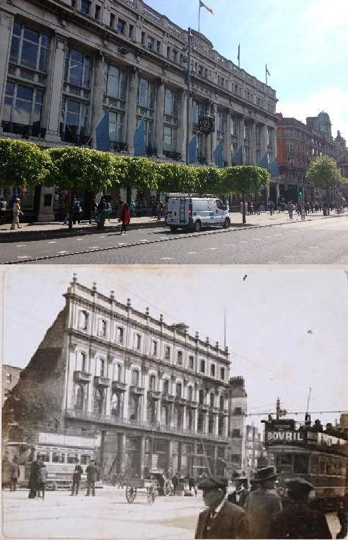 The shattered remains of The Imperial Hotel as it was then & Clery's Department Store on O'Connell St as it is now.