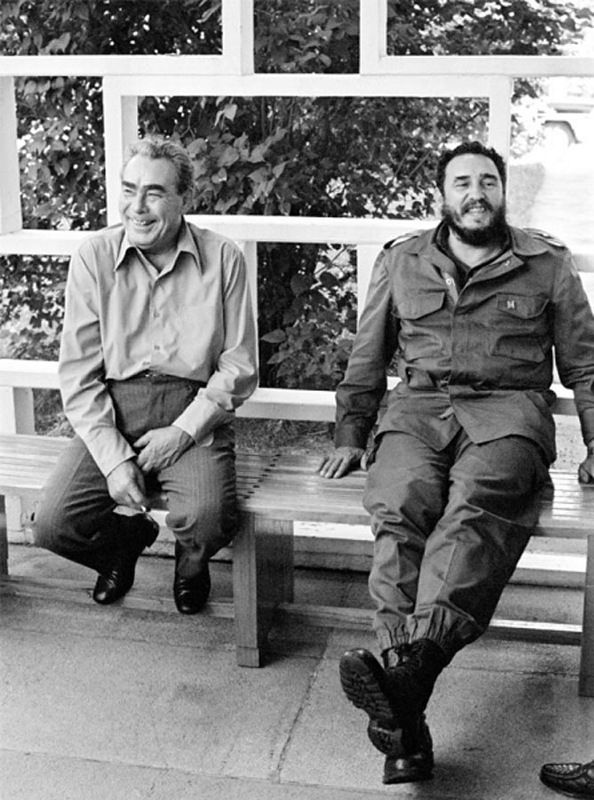 Leonid Brezhnev and Fidel Castro.