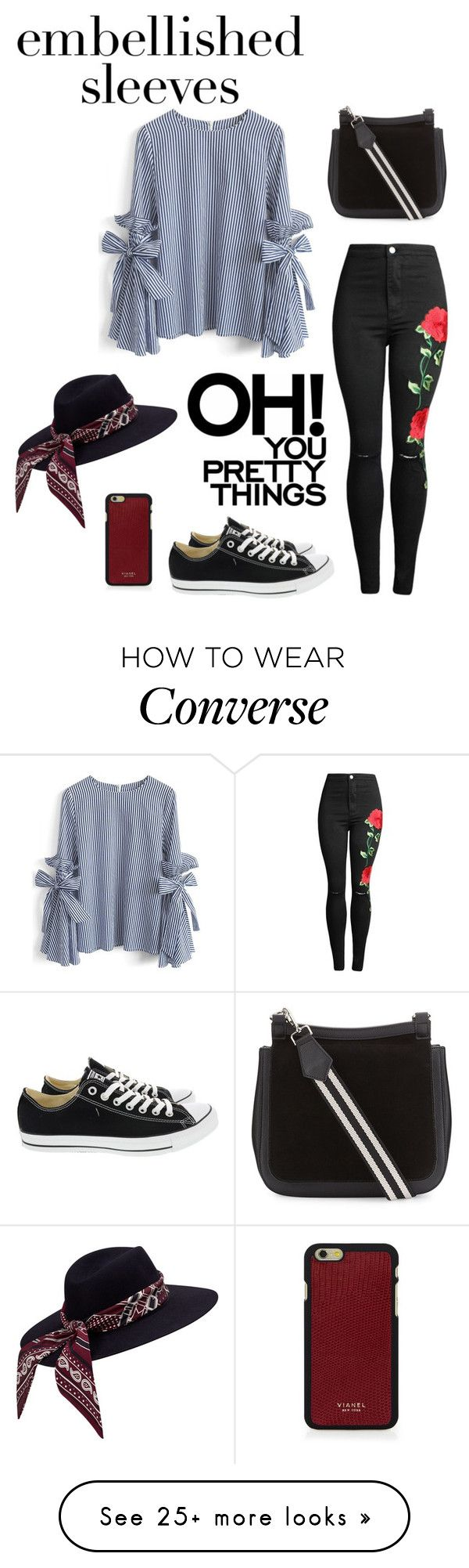 """""""Make a Statement: Embellished Sleeves"""" by a232unicorn on Polyvore featuring Chicwish, Converse and Vianel"""