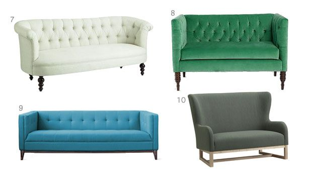 Green couch... Sofas on Sale - Weekly Design Deals January 14, 2014 - House Beautiful