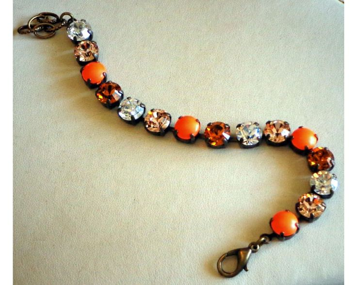39ss pearl chaton | Swarovski elements orange neon colour pearl multi bracelet