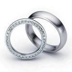 обручальные кольца из белого золота с бриллиантами на ребре