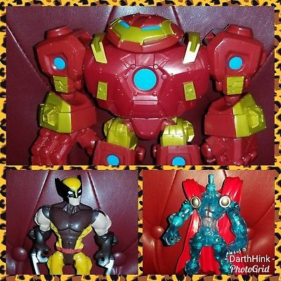 Marvel Superheroes Super Hero Mashers Action Figure LOT Wolverine Hulkbuster ++