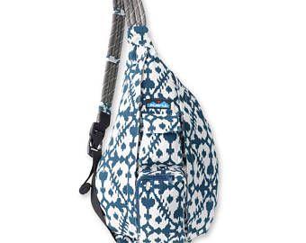 Monogrammed Kavu Rope Bag - Blue Blot | Monogram Crossbody Bag | Teens | Women | Outdoors Satchel | Gift for Her | Canvas Sling Bag