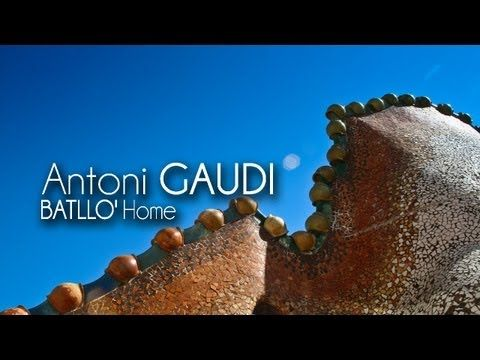 Video : Antoni GAUDI - (1907) - Casa BATLLO' (Barcelona, Spain)    The first thing that catches the attention of passers are mighty columns that suggest the legs of an elephant. The roof instead brings to mind a comple...