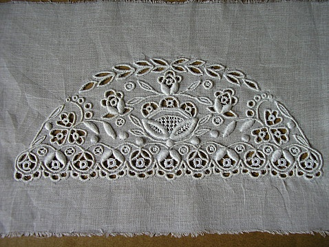 Embroidery to be made into a coif from Bigouden circa 1900, before they became a tall as they are today. Embroidered on cotton organdy