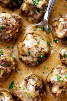 The Best Swedish Meatballs - 1 lb / 500g minced meat, ¼ cup GF bread crumbs, 1 Tb parsley, 1 ts oregano, ¼ cup onion, ½ ts Garlic Powder, ⅛ ts Pepper, ½ ts salt, 1 egg, Brown 12-20 balls then remove - SAUCE - in same pan 1 Tb nut oil, 3- 5 Tb ghee or ccnut oil, 3 Tb arrowroot/tapioca flour, 2 cups beef broth, 1 cup ccnut cream, 1 Tb Tamari sauce, 1 ts Dijon mustard salt and pepper to taste - ADD meatballs back in - Serve with rice or noodles More