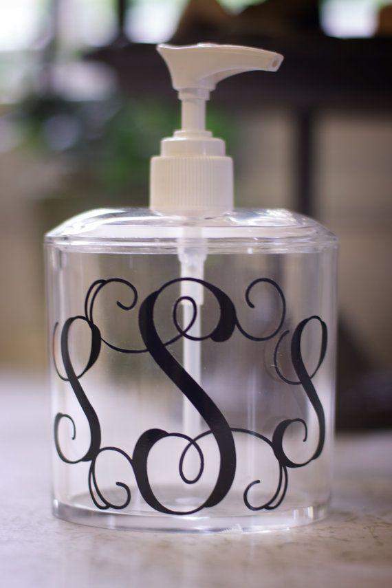 monogrammed soaplotion dispenser by on etsy