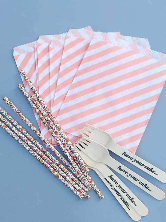"""Have Your Cake..."" bamboo cutlery and floral straws from Revelry House? Love this for a bridal shower!"