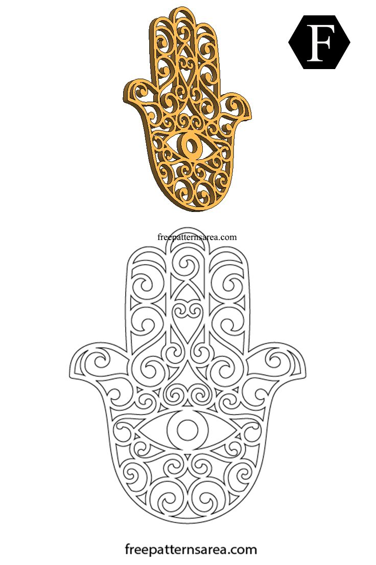 Meaning of Hamsa Hand Symbol and Free Design Scroll saw