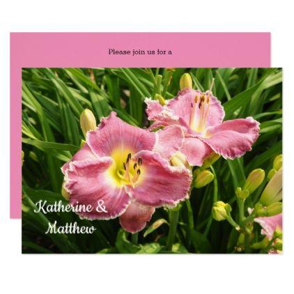 Pink Lilies 28 Wedding Invitation - wedding invitations cards custom invitation card design marriage party