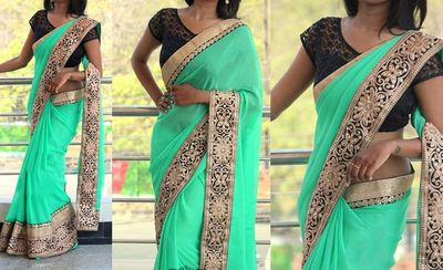 NEW LATEST SKY GREEN COLOR 60GM GEORGET EMBROIDERY WORK SAREE Sarees on Shimply.com