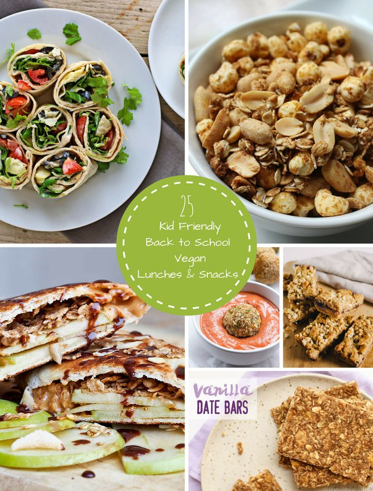 25 kid friendly back to school vegan lunch and snack ideas from some of my favorite bloggers! All the recipes are vegan and perfect for keeping your little ones excited about lunch time.