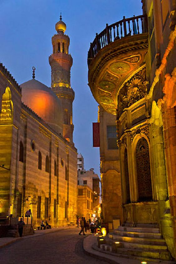Khan El Khalili district, Qalun mosque, Cairo Egypt