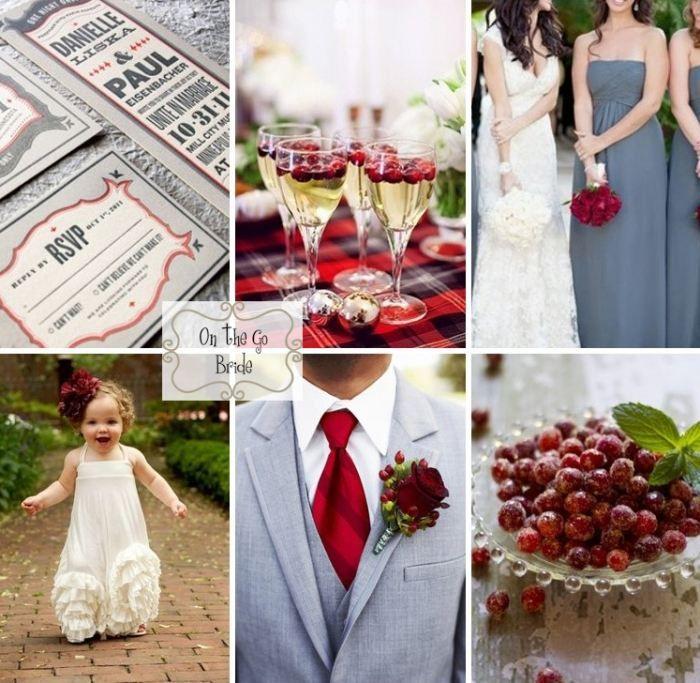 Farbkombination zu Hochzeit - Cranberry Rot und Grau