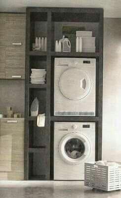 Waschmaschine und Trockner gut untergebracht