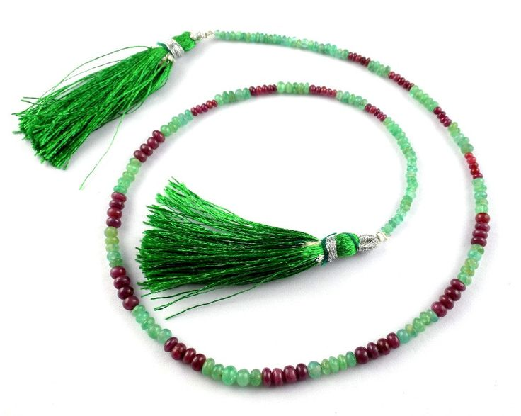 "1 Strand Natural Emerald And Ruby 5mm-2mm Smooth Rondelle Drilled 15"" Long Jewelry and Necklace Making Beads,Beaded Necklace by UGCHONGKONG on Etsy"