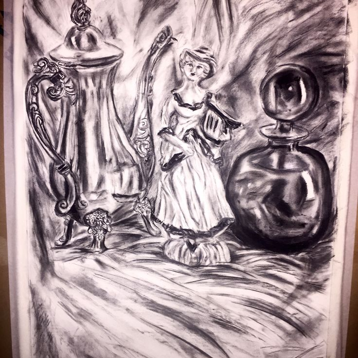 Still life assessment in charcoal. By CloudyArts