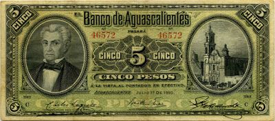 Mexico banknotes 5 Pesos banknote issued by the El Banco de Aguascalientes, dated 1910. Obverse: Portrait of José Maria García Rojas, the first governor of Zacatecas at left and Templo de San Marcos (Aguascalientes city, Mexico) at right. Mexican banknotes, Mexico paper money, Mexican bank notes, Mexico banknotes, Mexican paper money, Mexico bank notes collection of currency notes and bills, Billetes Mexicanos, Mexico Revolutionary paper money, banknotes of the Mexican Revolution.