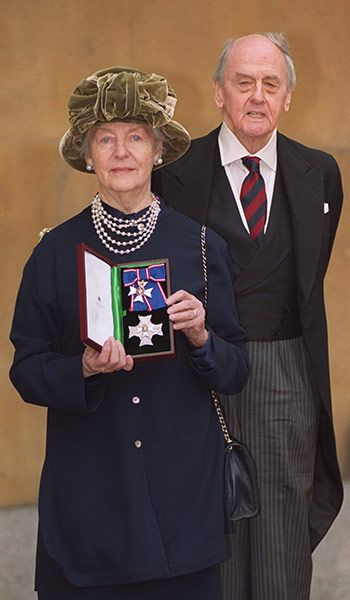 The Duke and Duchess of Devonshire at Buckingham Palace in London. The duchess was honoured by the Queen by being made a Dame Commander of The Royal Victorian Order