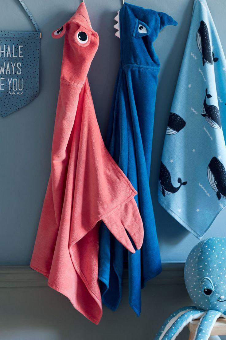 Super cute kids hooded bath towels - Patterned Bath Towel | Light blue/whales | H&M HOME | H&M US #kidsbath #affiliate #whales #sharks