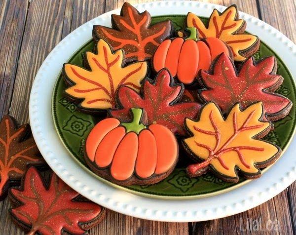 Glittered Fall Leaf Cookies
