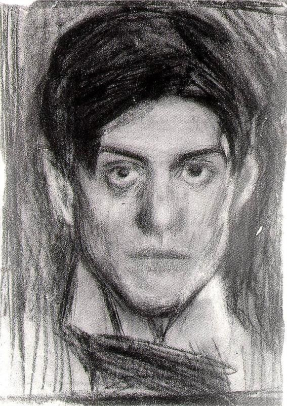 Self Portrait - Picasso, c.1900  So interesting.  I would have never thought Picasso looked like this.