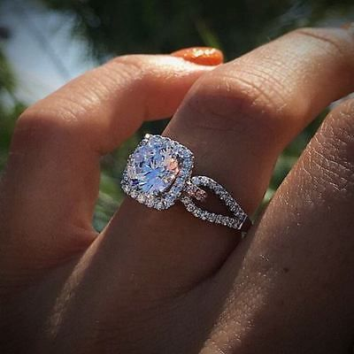 7 MM 1.25 CT Genuine Moissanite Diamond Halo Engagement Wedding 925 Silver Ring
