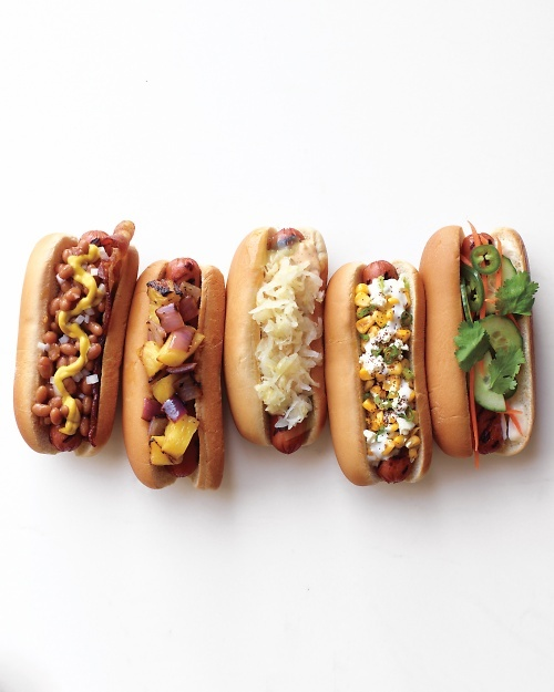 Frank and Beans, Hawaiian Dog, Reuben Dog, Mexican Charred-Corn Dog, and Banh Mi Dog Recipes.