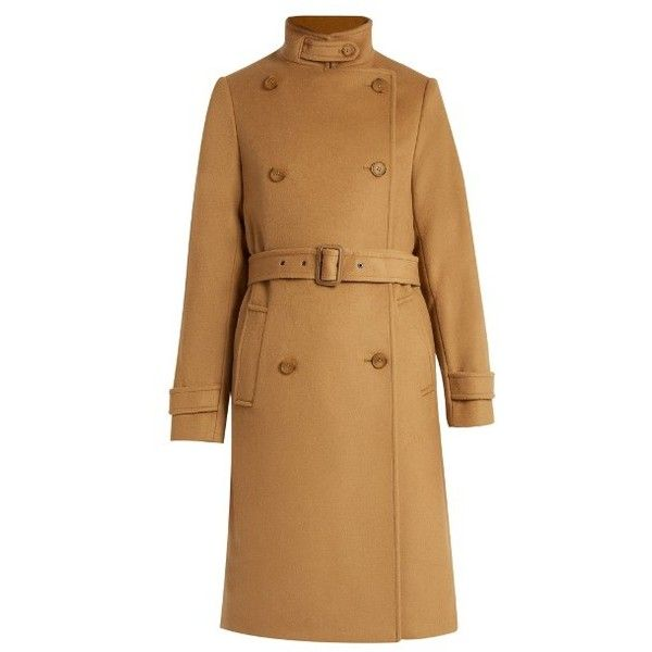 Vince Wool and cashmere-blend trench coat ($695) ❤ liked on Polyvore featuring outerwear, coats, camel, brown double breasted coat, double-breasted trench coat, cashmere blend coat, brown trench coat and brown wool coat