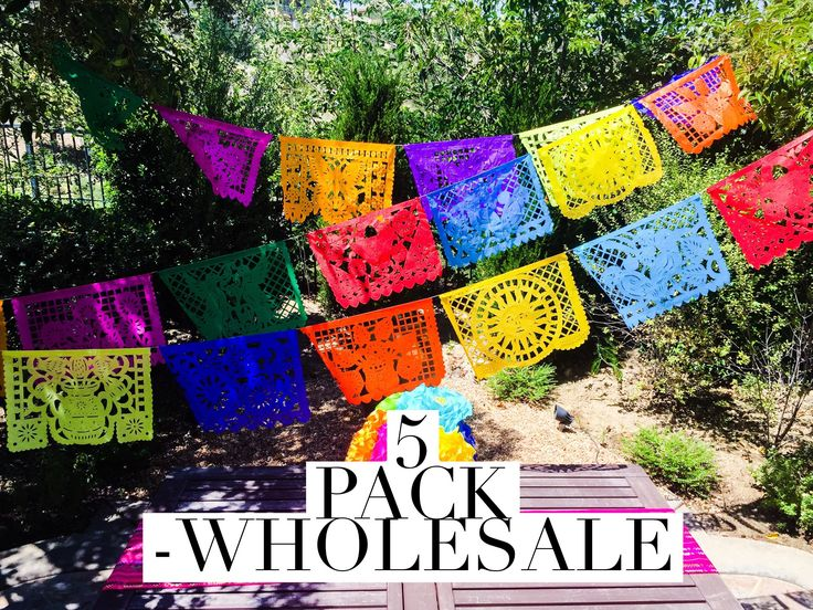 Mexican Papel Picado Banner, wholesale 5-pack. Large size flags, perfect for your next Mexican themed fiesta party! These colorful banners will add such a fun and vibrant touch to your decoration! Handmade in Mexico, papel picado is slowly becoming a lost art.. But ours is still made 100% by hand.