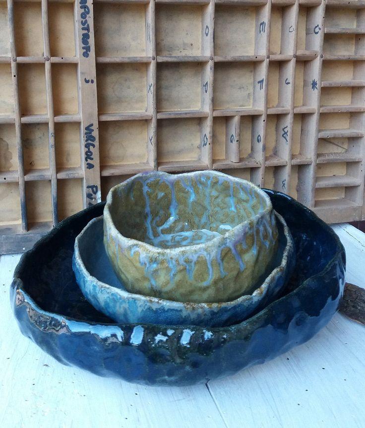 Set di ciotole in gamma di colore / Tris ceramic bowls / stoneware ceramic bowl / fatto a mano / blu azzurro e ocra di QBceramics su Etsy